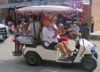 Decorated golf cart in parade